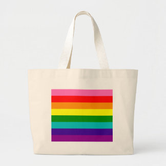 Rainbow Gay Pride LGBT Original 8 Stripes Flag Large Tote Bag