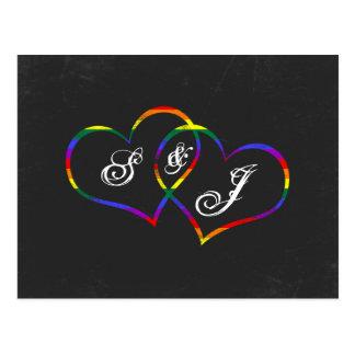 Rainbow Gay Pride Love Hearts Song Request Postcard