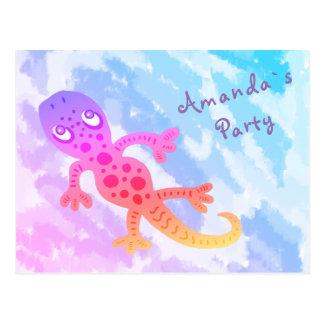 Rainbow Gecko Birthday Party Invite Postcard