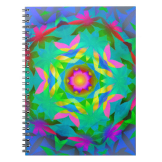 Rainbow Geometric Leaves Notebook