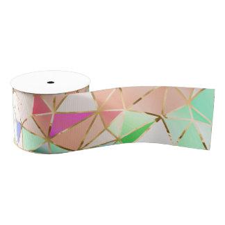 Rainbow geometric pattern grosgrain ribbon