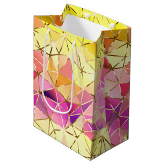 Rainbow geometric pattern medium gift bag