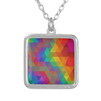 Rainbow geometric silver plated necklace