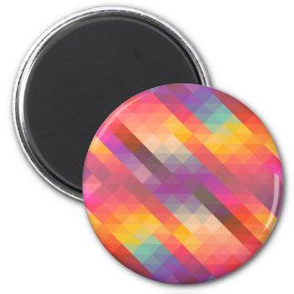 Rainbow Geometric Tetris Squares - Modern Pattern 2 Inch Round Magnet
