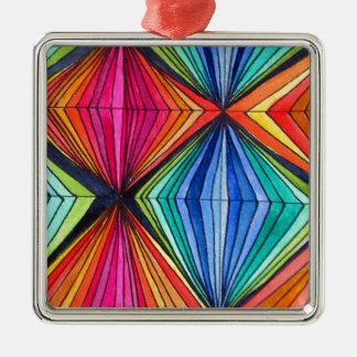 Rainbow Geometric Zentangle Optical Art Christmas Tree Ornaments
