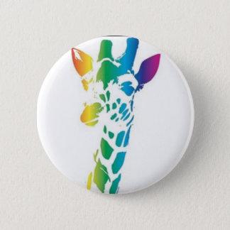 Rainbow giraffe 2 inch round button