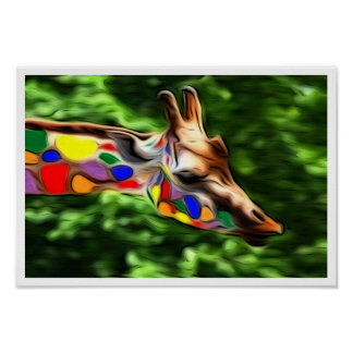 Rainbow Giraffe Poster