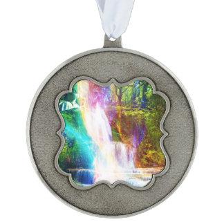 Rainbow Girl Garden Scalloped Pewter Ornament
