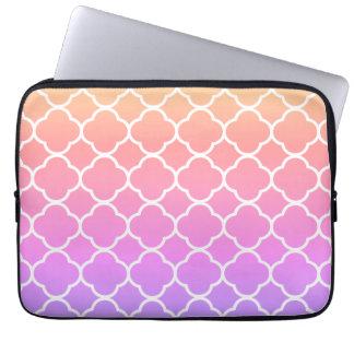 Rainbow Girly Quatrefoil Laptop Sleeve