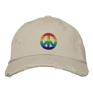 Rainbow GLBT Peace Sign Hat Embroidered Hat