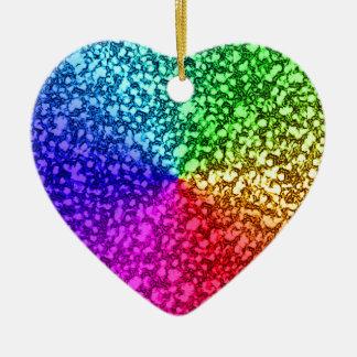 RAINBOW GLITTER CERAMIC HEART ORNAMENT