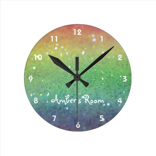Rainbow Glitter Kid's Bedroom Clock