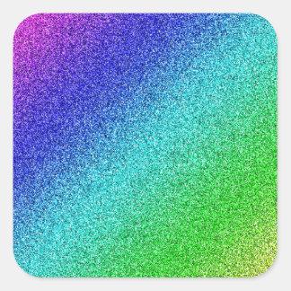 Rainbow glitter multicolored square sticker
