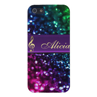 Rainbow Glitter Personalized Gold Music Clef Case