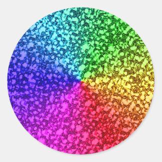 rainbow glitter sparkles classic round sticker