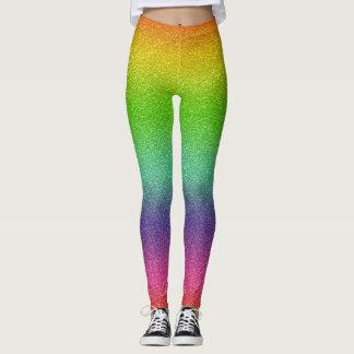 Rainbow Glitter Texture Leggings