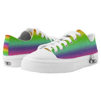 Rainbow Glitter Texture  Low Top Shoes,