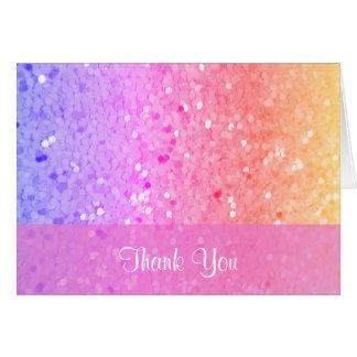 Rainbow Glitter Thank You Card