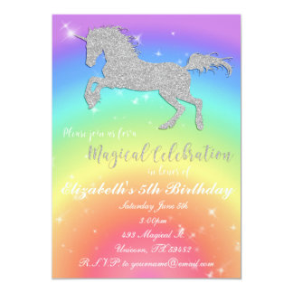 Rainbow Glitter Unicorn Birthday Inviation Card