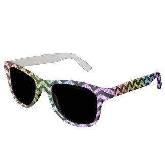 Rainbow Glitter Zigzag Pattern LGBT Pride Sunglasses
