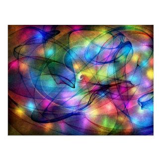 rainbow glowing lights postcards