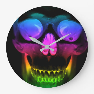 Rainbow Glowing Skull Surreal Gothic Horror Large Clock