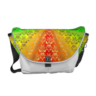 Rainbow gold damask white commuter bags