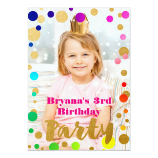 Rainbow Gold Dots Birthday Party Photo Invitation