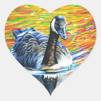 Rainbow Goose Heart Sticker