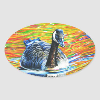 Rainbow Goose Oval Sticker