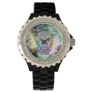 Rainbow Goth Sugar Skull Design Watch