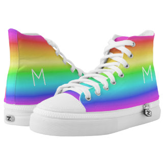 Rainbow Gradient custom monogram high-top shoes