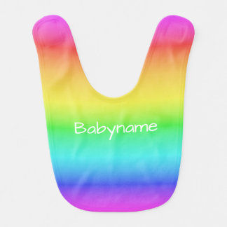 Rainbow Gradient custom name baby bib