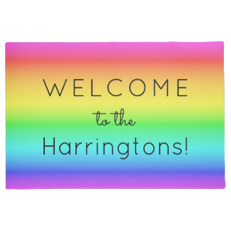 Rainbow Gradient custom text door mats