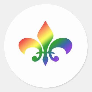 Rainbow Gradient Fleur de Lis Round Sticker