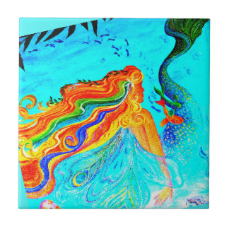 rainbow hair mermaid blue tile