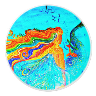 rainbow-haired mermaid ceramic knob