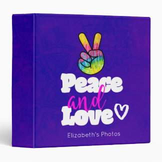 Rainbow Hand Peace Sign Peace and Love Typography 3 Ring Binder