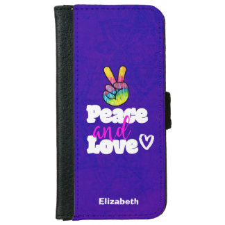 Rainbow Hand Peace Sign Peace and Love Typography iPhone 6 Wallet Case
