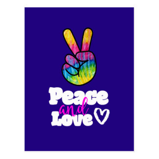 Rainbow Hand Peace Sign Peace and Love Typography Postcard