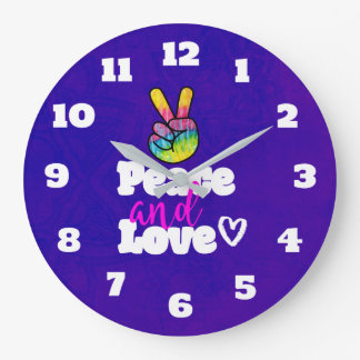 Rainbow Hand Peace Sign Peace and Love Typography Wall Clock