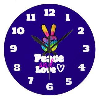 Rainbow Hand Peace Sign Peace and Love Typography Wall Clocks