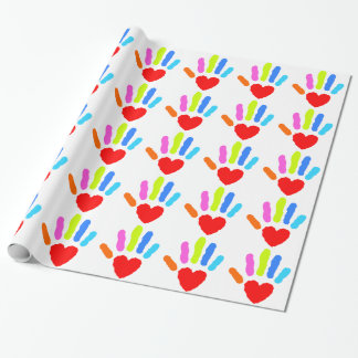 Rainbow Hand Print Wrapping Paper