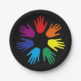 Rainbow hands 7 inch paper plate