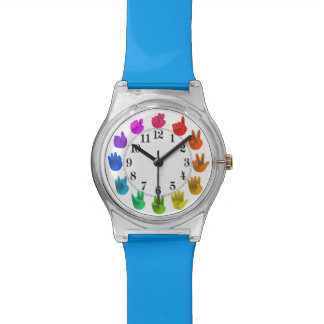 Rainbow hands asl numbers wrist watches