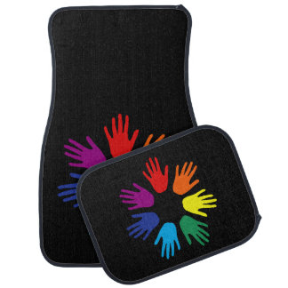 Rainbow hands car mat