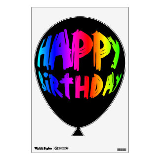 Rainbow Happy Birthday Balloon 2 Wall Decal