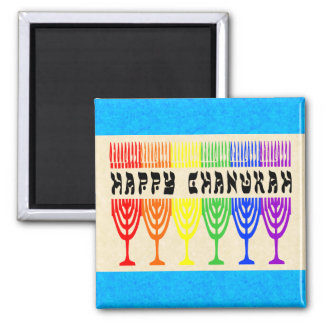 Rainbow Happy Chanukah Magnets