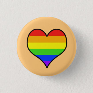 Rainbow Heart 1 Inch Round Button
