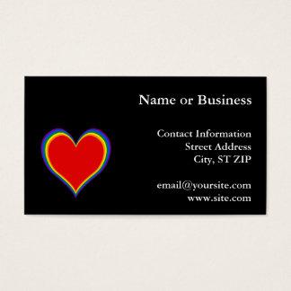Rainbow Heart 1 on Black Business Card